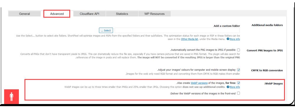 تب General در پشتیبانی از تصاویر WebP در ورد پرس
